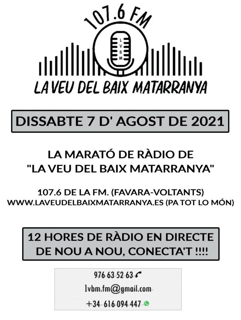 Cartell anunciador de LA MARATÓ DE RADIO 2021 DE LA VEU DEL BAIX MATARRANYA